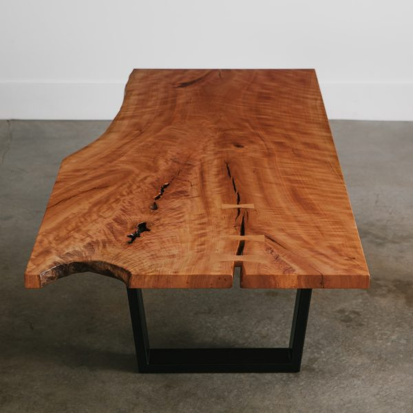 Modern live edge cherry wood coffee table