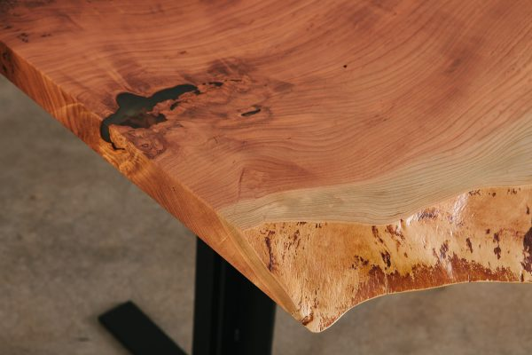 Live edge cherry slab table with clear resin