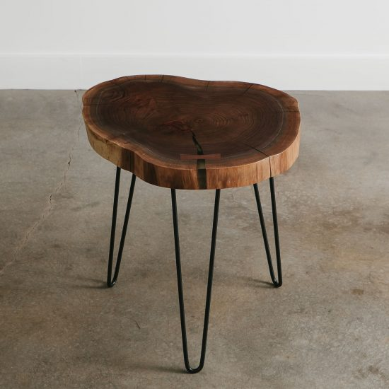 Walnut live edge side table with clear resin