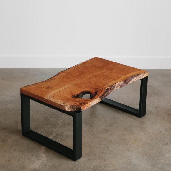 Small luxury live edge cherry coffee table with natural tree characteristics