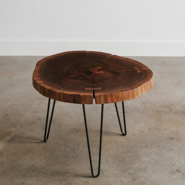 Classy walnut live edge round side table