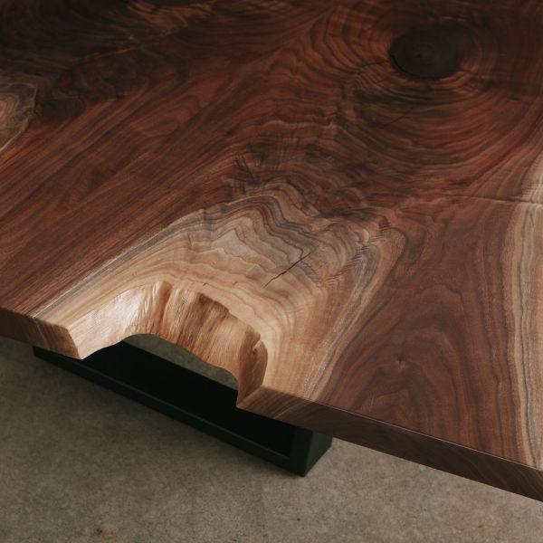Live edge walnut slab with figured grain