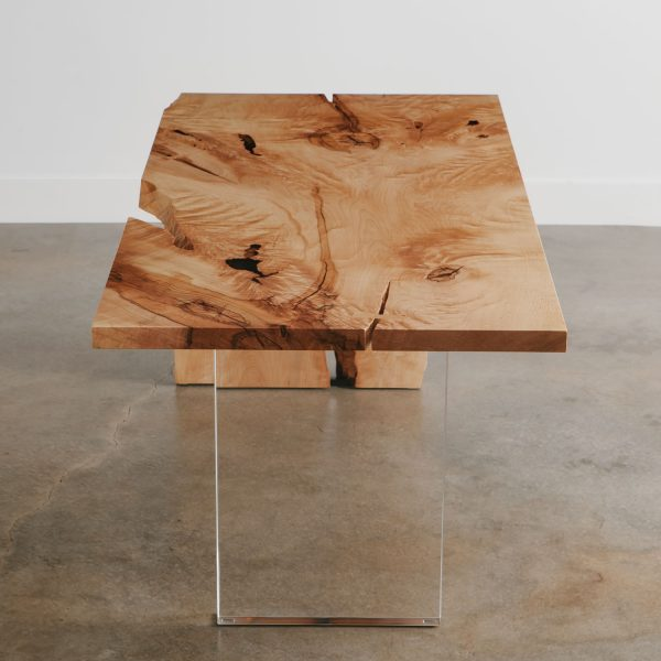 Modern live edge maple desk with clear base