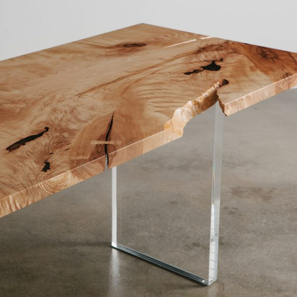 Modern maple table with clear lucite base