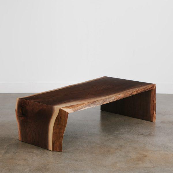 Live edge walnut waterfall coffee table