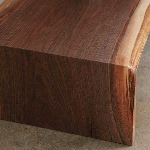 Live edge waterfall joint on luxury coffee table