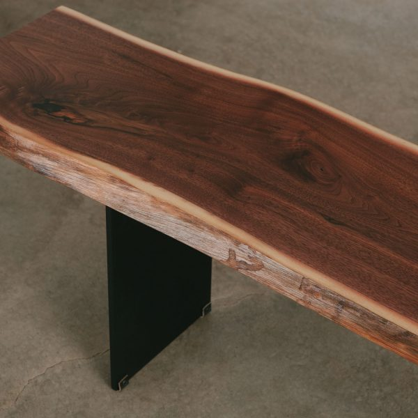 Handcrafted live edge slab bench