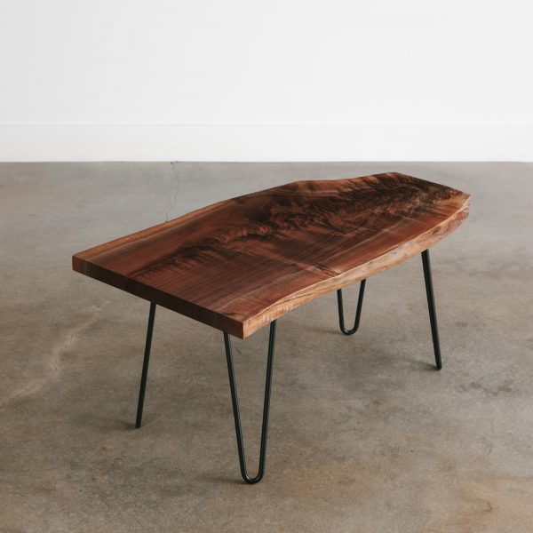 Luxury live edge walnut coffee table hairpin legs for apartment