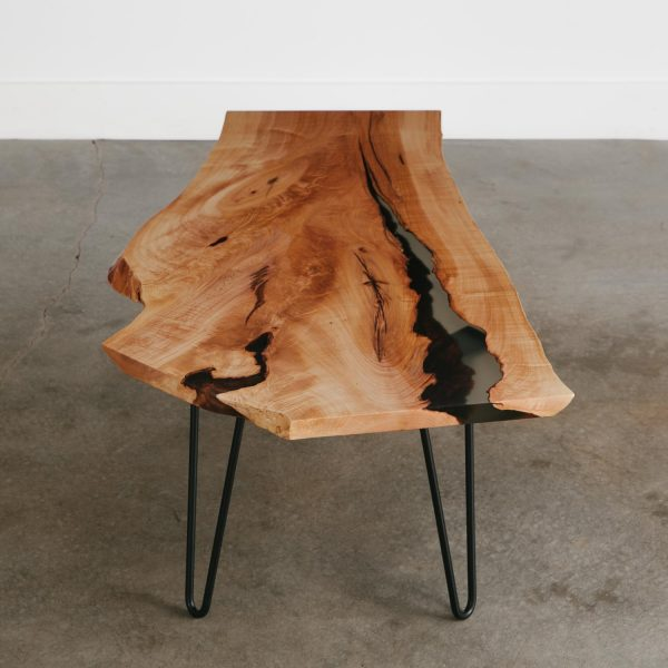 Luxury live edge coffee table with clear resin