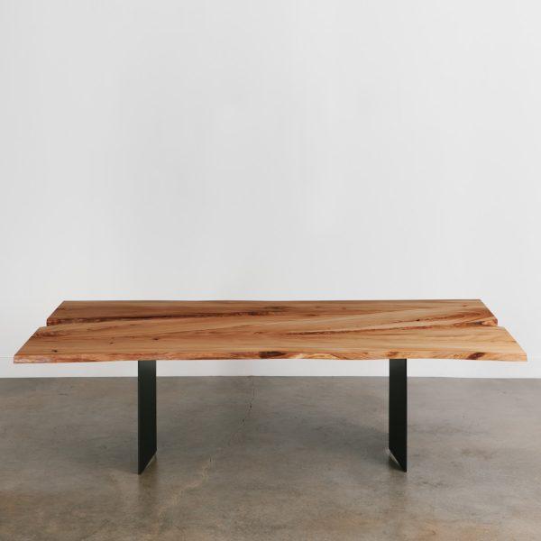 Modern elm wood steel dining table