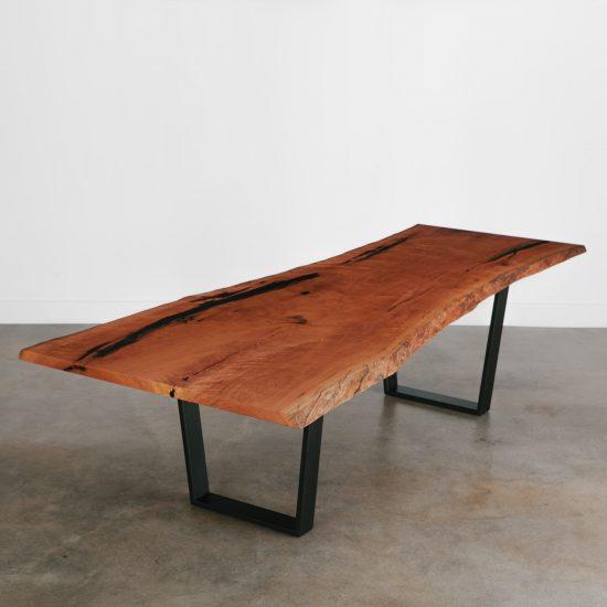 Sleek live edge cherry dining table