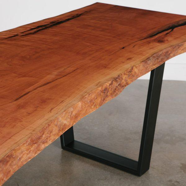 Modern cherry live edge slab dining table