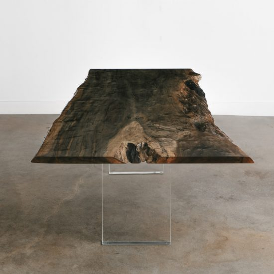 Trendy ebonized live edge dining table lucite