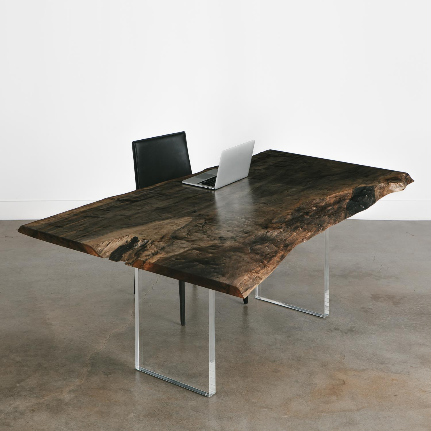 Contemporary Natural Live Edge Table With Acrylic Legs Elko Hardwoods Modern Live Edge Furniture Dining Coffee Tables Desks Benches