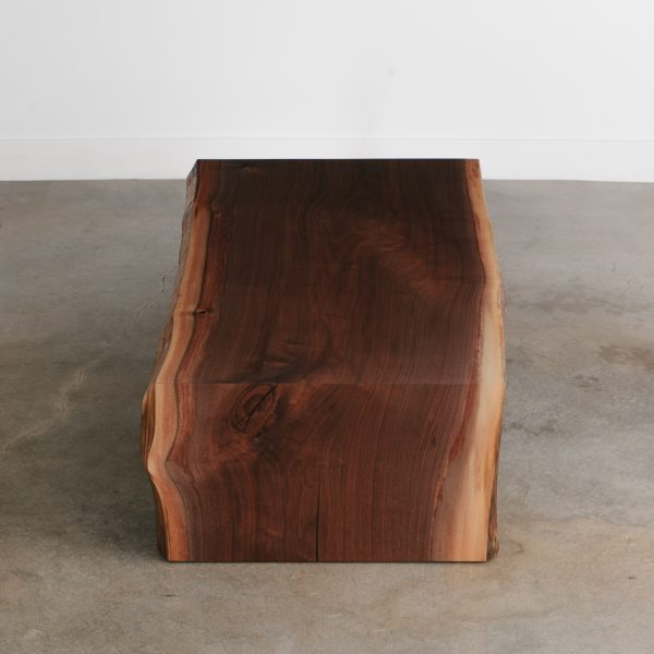Single slab luxury waterfall walnut coffee table