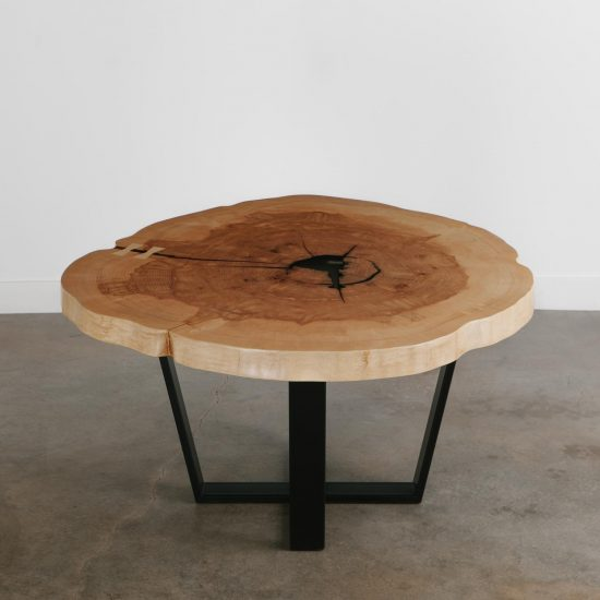 Round live edge slab dining table