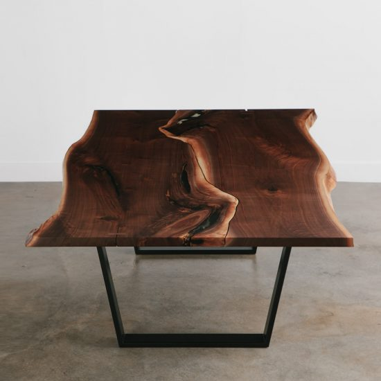 Large walnut live edge trendy office conference table