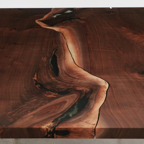 Live edge walnut wood with matte finish and clear resin