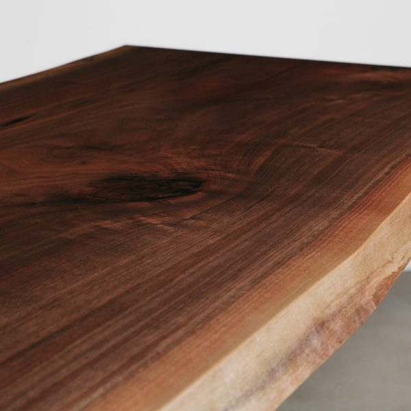 Live edged salvaged walnut grain with matte finish