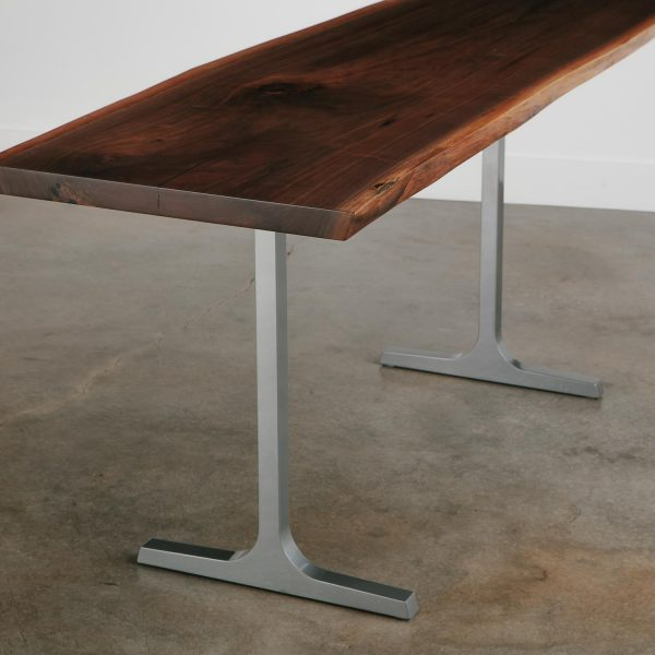 Walnut live edge table with metal t base
