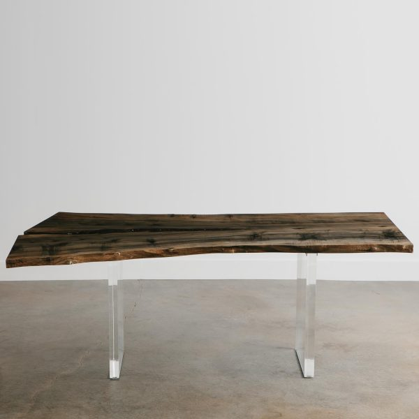 Salvaged tree live edge ebonized maple dining table with clear acrylic base