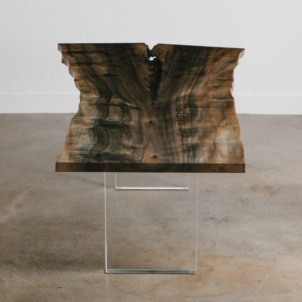 Eco friendly modern live edge table with lucite base