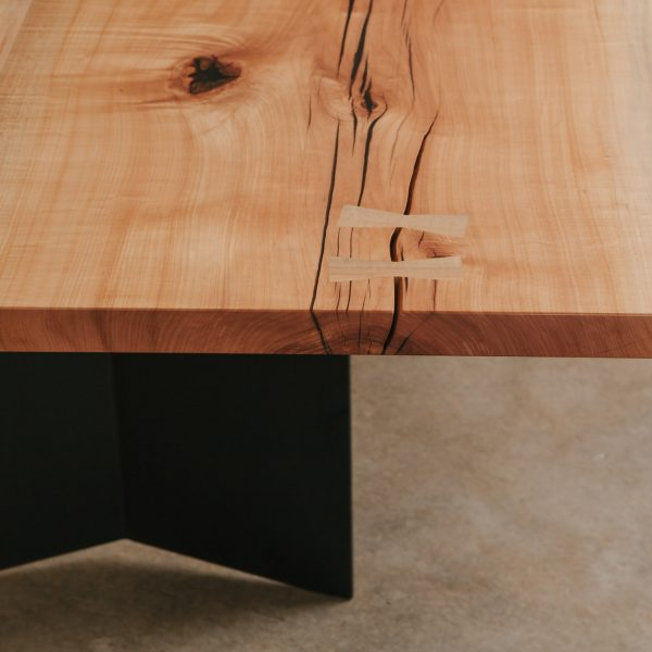 Salvaged maple slab with butterfly joints
