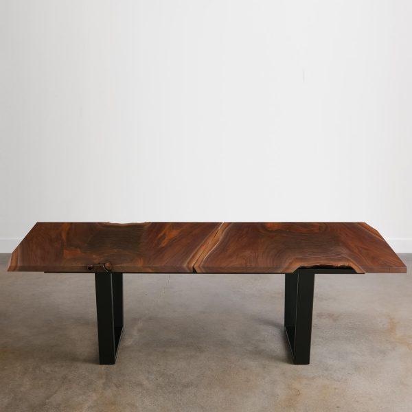 Live edge salvaged walnut table with steel legs