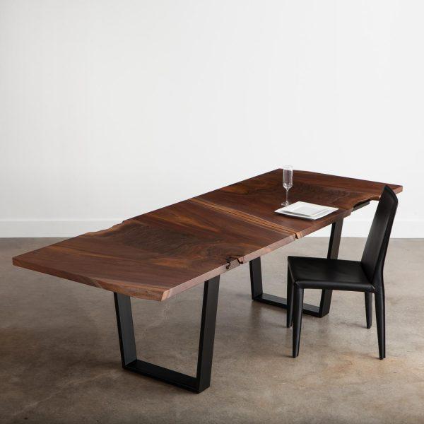 Handmade modern live edge walnut table