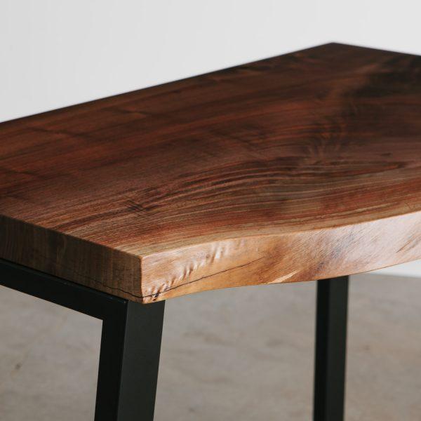 Custom walnut tree slab desk with matte finish
