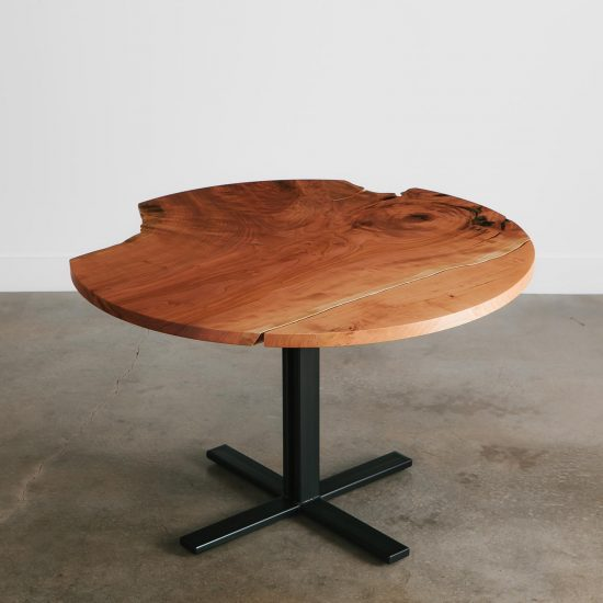 Modern live edge round dining table