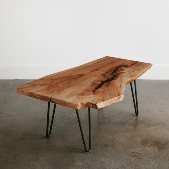 Live edge wood coffee table with hairpin legs