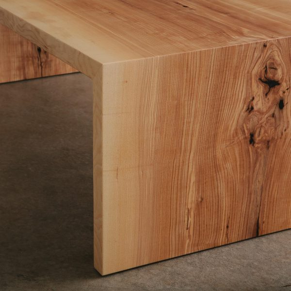 Ash wood grain detail with tree knot