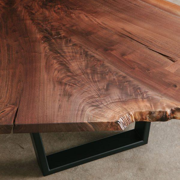 Walnut crotch slab coffee table with live edge and knots