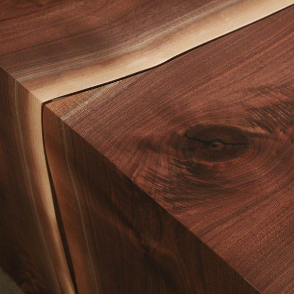 Live edge walnut waterfall wood grain