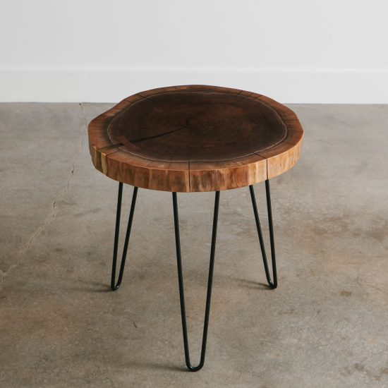 Modern walnut live edge side table hairpin legs