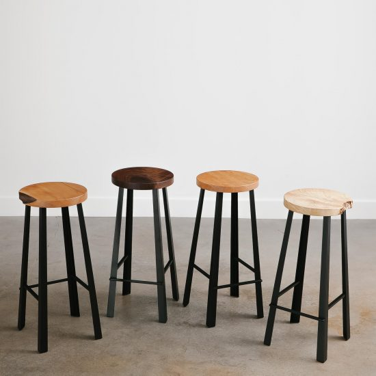 Live edge handmade bar stool set