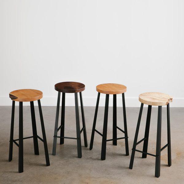 Live edge handmade bar stool set