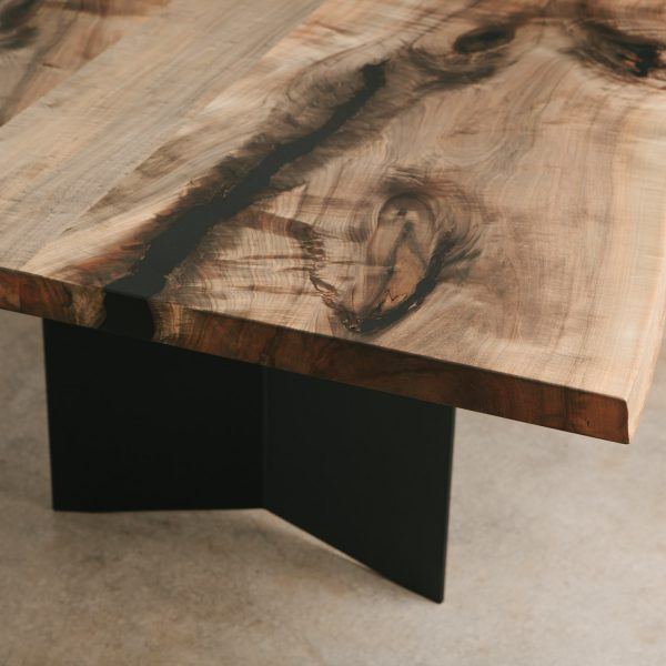 Ebonized maple live edge slab contemporary