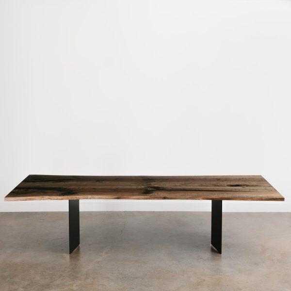 Live edge maple dining table with custom steel legs