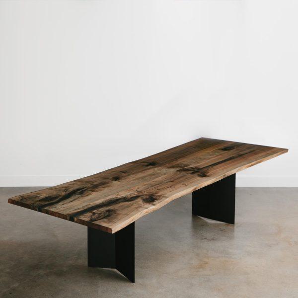 Modern live edge ebonized maple trendy dining room table