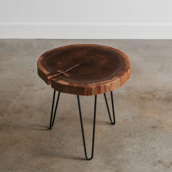 Live edge walnut round side table
