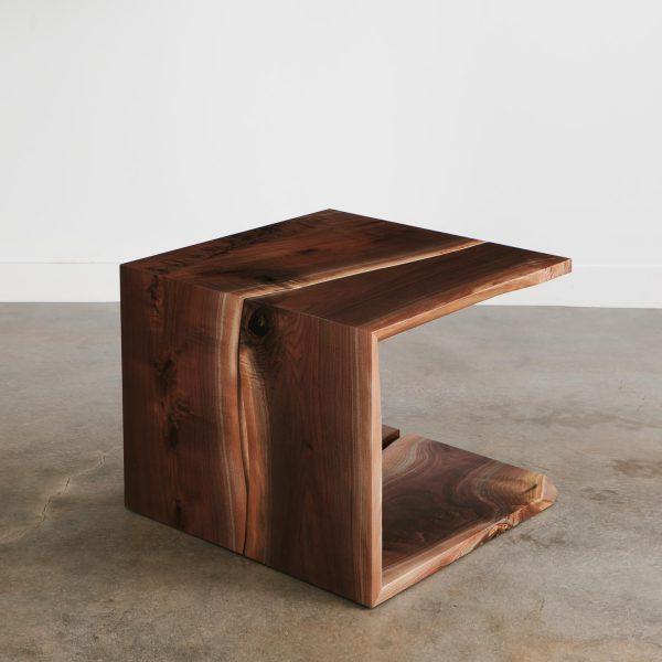 Custom live edge walnut slab waterfall coffee table