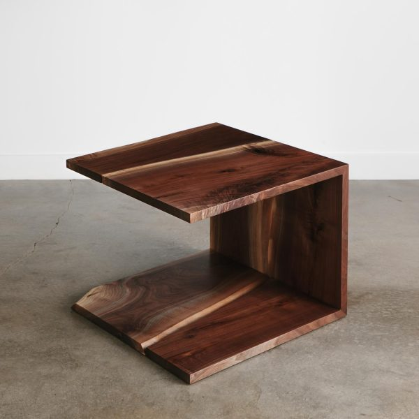 Trendy cantilever walnut coffee table