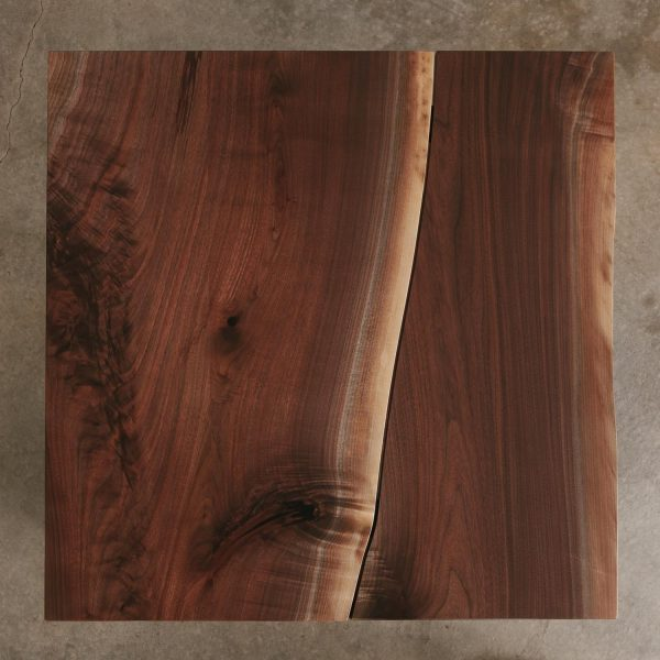 Modern handmade bookmatched live edge walnut table