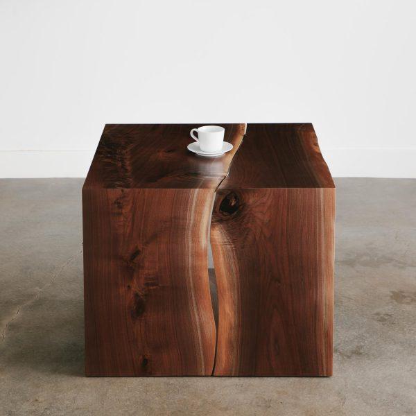 Luxury live edge walnut side table