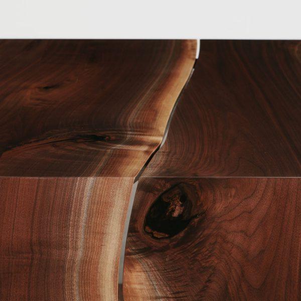 Live edge walnut modern waterfall table