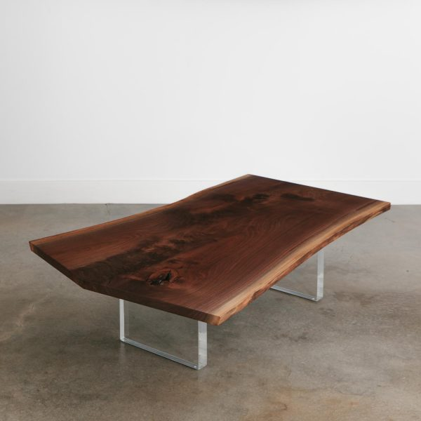 Live edge walnut coffee table with acrylic base