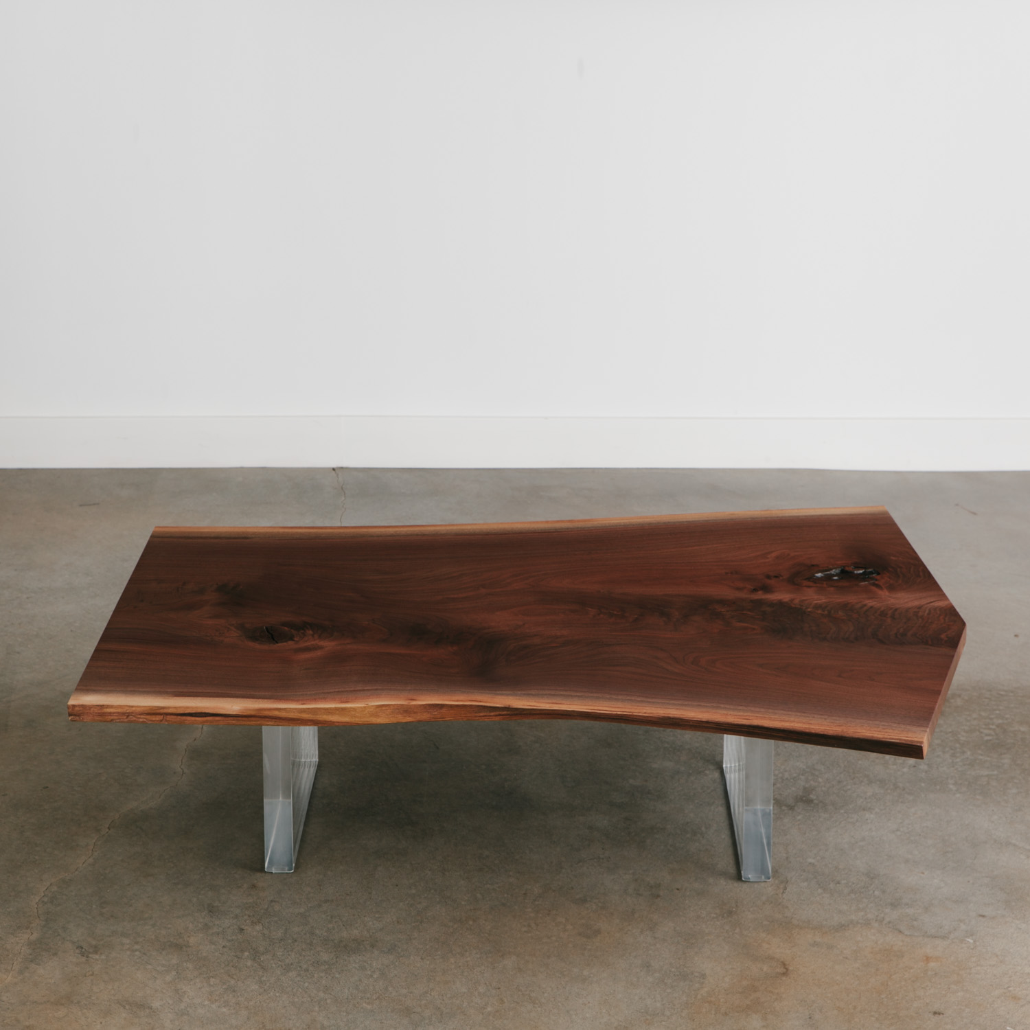 Handmade Live Edge Walnut Table With Acrylic Legs Elko Hardwoods Modern Live Edge Furniture Dining Coffee Tables Desks Benches