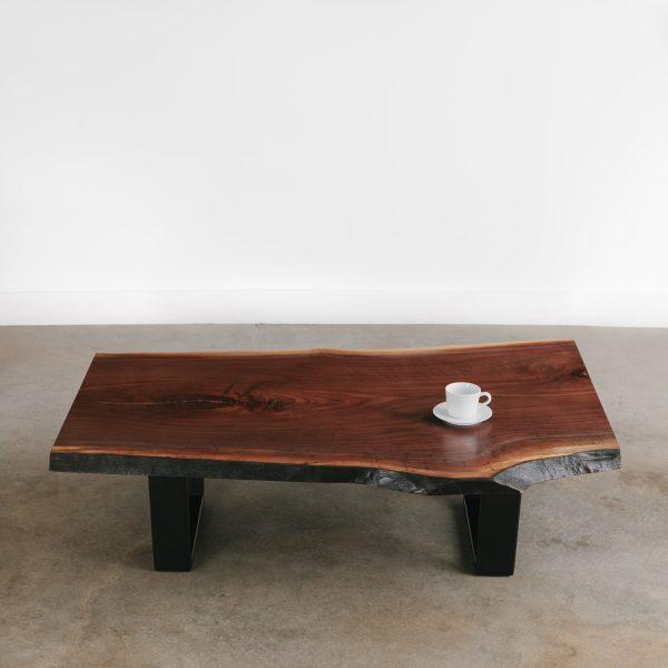 Modern live edge walnut coffee table